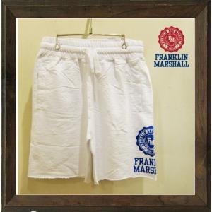 FRANKLIN MARSHALL(フランクリン マーシャル) エンブレム&ロゴ スウェットハーフパンツ color:WHITE (ホワイト) angland