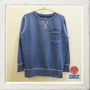 FRANKLIN MARSHALL【フランクリン マーシャル】胸ロゴポケット トレーナー color:145【DETROIT】ブルー angland