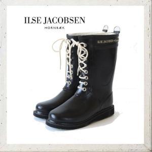 ILSE JACOBSEN ショート丈 レースアップラバーブーツ color:BLACK(ブラック)|angland