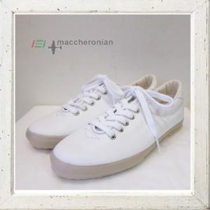★MACCHERONIAN(マカロニアン)スムースカーフ レザースニーカー Color:WHITE(ホワイト)|angland