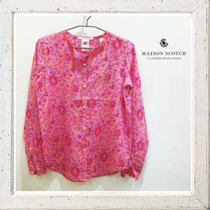 MAISON SCOTCH メゾンスコッチ ノーカラー シャツブラウス color:PINK(ピンク)|angland