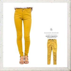 MAISON SCOTCH メゾンスコッチ Mid rise skinny fit スキニー カラーパンツ COLOR:YELLOW(イエロー)|angland