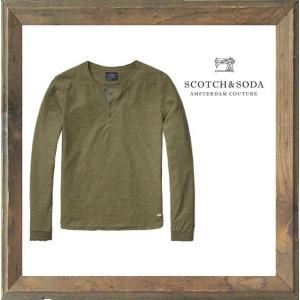 SCOTCH&SODA(スコッチ&ソーダ)ヘンリーネック 長袖Tシャツ color:SAGE MELANGE(グリーン) angland