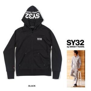 SY32 by SWEET YEARS フード BIGロゴ ZIPパーカー color: BLACK(ブラック)|angland