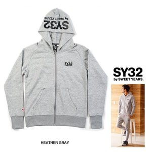 SY32 by SWEET YEARS フード BIGロゴ ZIPパーカー color: HEATHER GRAY(グレー)|angland