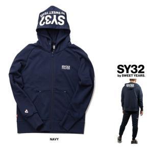 SY32 by SWEET YEARS フード BIGロゴ ZIPパーカー color: NAVY(ネイビー)|angland