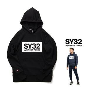 SY32 by SWEET YEARS TNS1704 BIGロゴ プルオーバー パーカー color:BLACK(ブラック)|angland