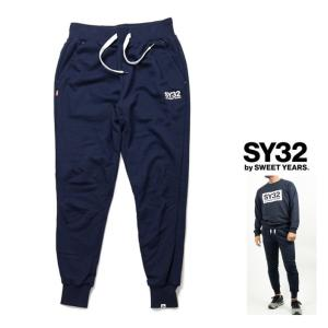 SY32 by SWEET YEARS ロゴ スウェットパンツ color:NAVY(ネイビー)|angland
