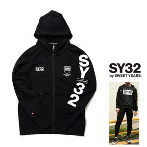 SY32 by SWEET YEARS 袖 BIGロゴ ZIPパーカー color:BLACK(ブラック)|angland