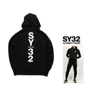 SY32 by SWEET YEARS バックBIGロゴ プルオーバー・パーカー color:BLACK(ブラック)|angland