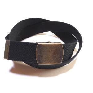 【日本製】40ミリ(綿)コットン GIベルト アンティークローラーバックル☆ブラック(黒)【あすつく対応】【フルサイズ対応】