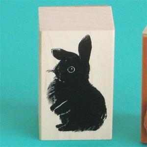 谷本ゴム印店【ペットスタンプ】Fタイプ・黒ウサギ|animalstamp