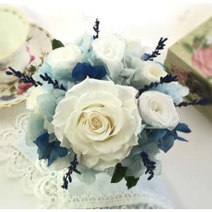 プリザーブドフラワー ギフト 白い薔薇 ラベンダー さわやか ご結婚お祝い anju87