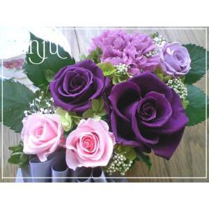 プリザーブドフラワー ギフト アレンジメント 紫 パープル バラ 深い紫の薔薇 anju87