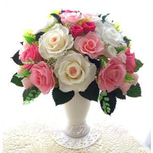 プリザーブドフラワー ギフト 永遠の薔薇をあなたへ ミルフィーユ ピンクローズ 心躍る新しいスタートに|anju87