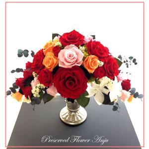 プリザーブドフラワーアレンジ ギフト 永遠の薔薇をあなたへ 真紅の薔薇のメリアと白いデンドロビウム|anju87