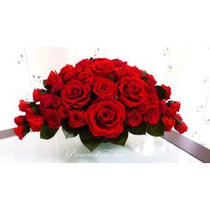 プリザーブドフラワー アレンジ ギフト 情熱と永遠の愛 真っ赤な薔薇で作ったホリゾンタルアレンジ|anju87