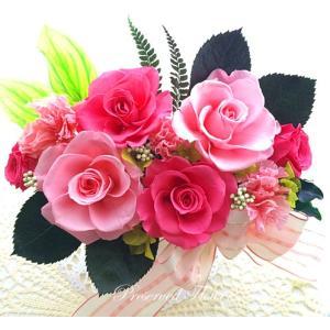 プリザーブドフラワー アレンジメント ギフト ストロベリーローズ ピンクローズ 春のお祝いに 祝  anju87