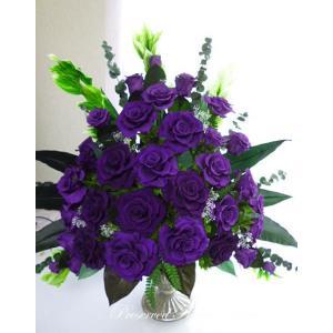 プリザーブドフラワー ギフト 紫の薔薇の似合うあなたへ 豪華 大きなアレンジ|anju87