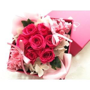 プリザーブドフラワー ギフト キャンディボックス アレンジ ピンク 薔薇 ピンク リボン anju87