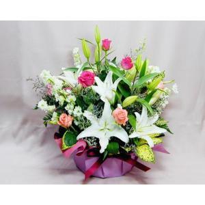 バラ ゆり ギフト プレゼント 誕生日の花 ユリとバラのアレンジ バースデー 歓送迎 送別 退職 贈り物 卒業|anne