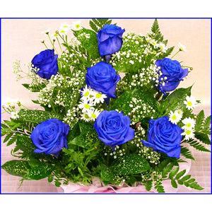 バラ ギフト 青い バラ ブルー ローズ アレンジ ギフト プレゼント 歓送迎 送別 退職 贈り物 卒業|anne