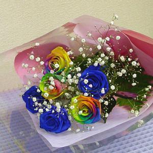 花束 バラ ギフト レインボー バラ 青い バラ...の商品画像