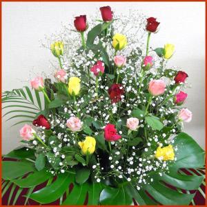 花 退職祝 結婚祝 ミックス バラ かすみ草 アレンジ バースデー ギフト プレゼント 歓送迎 送別 退職 贈り物 卒業|anne