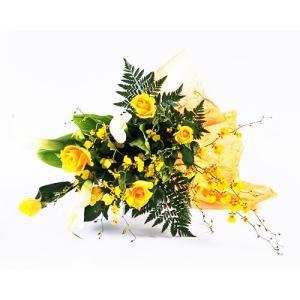 カラー黄バラやランの爽やかな黄色 の花束 ブーケ 花束 ギフト プレゼント 歓送迎 送別 退職 贈り物 卒業 anne