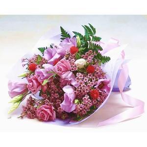 バラとトルコ桔梗のエレガントブーケ バラ ブーケ 花束 誕生日の花 ギフト プレゼント 歓送迎 送別 退職 贈り物 卒業 anne