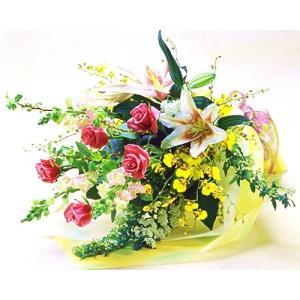 バラとユリの華やかな花束 バラ ブーケ 誕生日の花 翌日配達 ギフト プレゼント 歓送迎 送別 退職 贈り物 卒業 anne