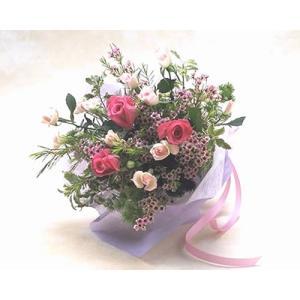 ピンクのバラと小花の花束 バラ ブーケ 花束 誕生日の花 翌日配達 ギフト プレゼント 歓送迎 送別 退職 贈り物 卒業 anne