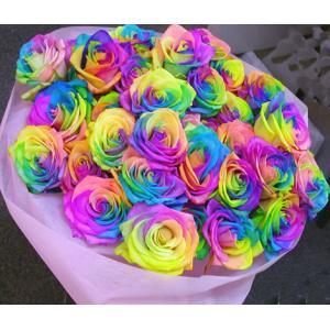 成人の日 虹色のバラレインボーローズミラクル20本の花束