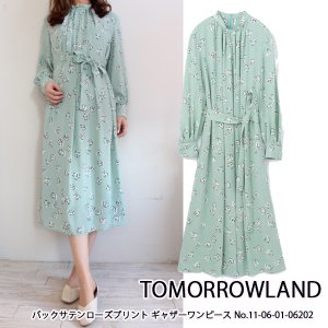 SALE セール 11-06-01-06202 TOMORROWLAND バックサテンローズプリントギャザーワンピース トゥモローランド 20SS 送料無料|annie-0120