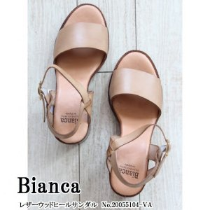 20055104-VA Bianca ビアンカ レザーウッドヒールサンダル 送料無料 あすつく|annie-0120