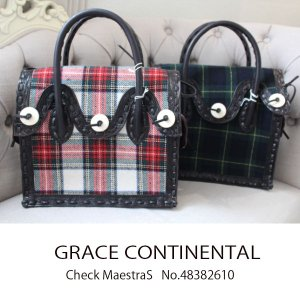 SALE セール グレースコンチネンタル 店舗CheckMaestra(S) 牛革 Carbingtribes カービングバッグ   GRACE CONTINENTAL 48382610 18AW|annie-0120