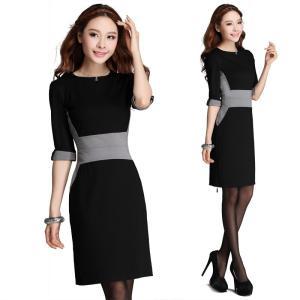 膝丈ワンピース予約大人人気シンプル配色デザインスリム効果ワンピースドレス黒S-3L XX-09-9811   送料無料の画像