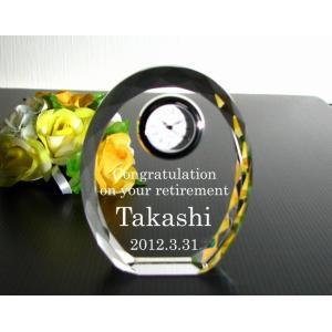 名入れ クリスタル時計C 誕生日 定年退職祝い 還暦祝い 昇進祝い 周年記念品 創立記念品 喜寿 米寿|anniversaryglass