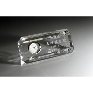 名入れ クリスタル時計E クリスタル記念品 ギフト|anniversaryglass