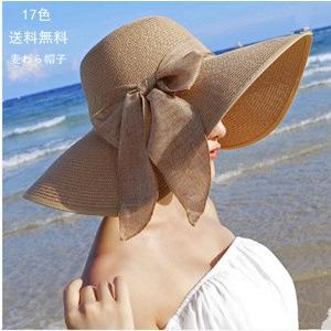 帽子 つば広ハット レディース ビーチハット 紫外線対策 麦わら UVカット リゾート風 折畳み可 リボン付 砂浜用品 小顔効果 日よけ おしゃれ 春夏 新作 送料無料|annyshop