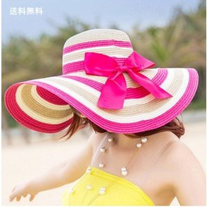 帽子 つば広ハット レディース ビーチハット 紫外線対策 麦わら UVカット 折畳み可 ストライプ リゾート風 旅行 小顔効果 日よけ おしゃれ 春夏 新作 送料無料|annyshop