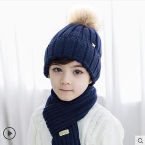 2点セット ニット帽+マフラー ニット帽子 ベビー キッズ 赤ちゃん 3-8歳適用 耳当て 子供用帽子 ポンポン あったか 防寒 冬物 2018 新作 送料無料|annyshop
