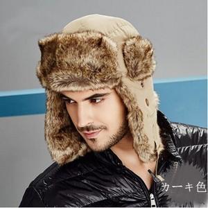 毛皮帽子 メンズ パイロット帽子 パイロットキャップ 耳あて付き ロシア帽 キャップ 毛皮 ファー ボア 防寒 あったかい アウトドア オシャレ|annyshop