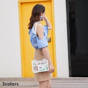 バッグ レディース 鞄 かばん ミニショルダー レディースバッグ ショルダーバッグ 透明 PU 収納 オシャレ 切替 シンプル 2018 夏 新作 送料無料 annyshop