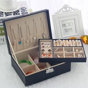 アクセサリーケース ジュエリーボックス 収納 ボックス ポーチ 二段 大容量 ネックレス 指輪 ピアス プレゼント 雑貨 贈り物 ギフト 小物 送料無料|annyshop