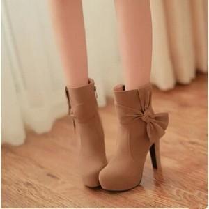 厚底 ショートブーツ ブーツ レディース スエード  リボン付き 靴 シューズ  美脚  ハイヒール 秋冬新作 女性 annyshop