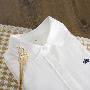 長袖シャツ レディース 長袖 ブラウス シングル 折り襟 無地 白いシャツ 刺繍 細身 インナー トップス カジュアル おしゃれ シャツ 冬 冬物 新作 送料無料|annyshop