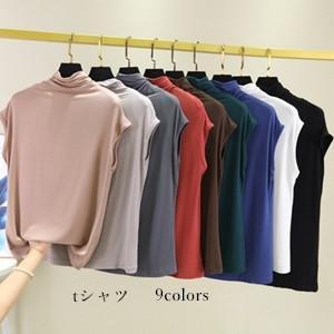 ベスト Tシャツ tシャツ レディース ノースリーブ タートルネック 無地 夏tシャツ 薄手 ゆったり 大きいサイズ おしゃれ カジュアル 通学 夏物 新作 送料無料|annyshop