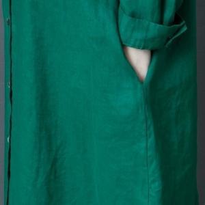 ワンピース レディース 長袖 ロング丈 シャツワンピ リネンワンピ 綿麻 無地 ゆったり 大きいサイズ オシャレ 着痩せ 春服 春物 新作 送料無料|annyshop|04