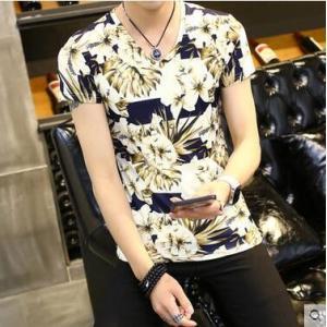 Tシャツ メンズTシャツ tシャツ 半袖 半そでtシャツ 花柄 総柄  プリント 夏 カットソー  クルーネック トップス メンズファッション|annyshop
